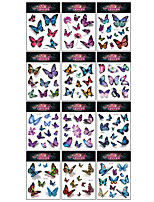 cheap -12 Pcs/set Temporary Tattoos Butterfly Tattoos for Kids Womens Colorful Body Art Temporary Tattoos, Butterfly Party Favors