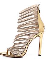 cheap -Women's Sandals Summer Stiletto Heel Open Toe Daily Denim PU Gold / Roman Shoes / Gladiator Sandals