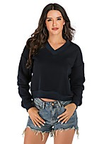 cheap -Women's Fleece Sweatshirt Long Sleeve Minimalist Sport Athleisure Pullover Breathable Warm Quick Dry Comfortable Yoga Exercise & Fitness Running Everyday Use Exercising General Use / V Neck
