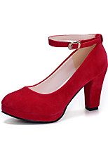 cheap -Women's Heels Spring / Summer Pumps Round Toe Daily PU Black / Red / Pink