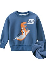 cheap -Kids Toddler Boys' Basic Street chic Dinosaur Color Block Animal Print Short Sleeve Long Sleeve Hoodie & Sweatshirt Blue