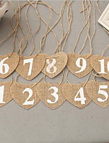 cheap -Table Number Cards Jute 10pcs Party