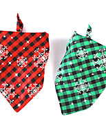 cheap -Dog Cat Bandanas & Hats Dog Bandana Dog Bibs Scarf Plaid / Check Cartoon Snowflake Party Cute Christmas Party Dog Clothes Adjustable Costume Fabric L