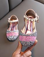 cheap -Girls' Flats Flower Girl Shoes PU Little Kids(4-7ys) / Big Kids(7years +) Pink / Silver Summer / Fall