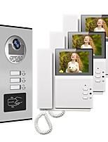 cheap -4.3 Wired Video Doorbell Video Intercom Multi-User Direct Press Visual Intercom Doorbell Network Cable With Camera 3 Monitors Video Door Phone Intercom System