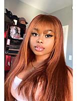 cheap -Remy Human Hair Wig Short Medium Length Long Straight With Bangs Orange Party Women Easy dressing Capless Brazilian Hair Malaysian Hair Women's Girls' Auburn 8 inch 10 inch 12 inch