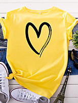 cheap -Women's T-shirt Abstract Tops - Print Round Neck 100% Cotton Basic Daily Summer Wine White Yellow S M L XL 2XL 3XL 4XL 5XL
