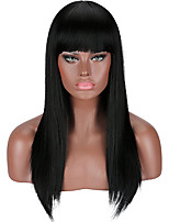 cheap -Synthetic Wig kinky Straight Neat Bang Wig Long Black Burgundy Synthetic Hair 23 inch Women's New Arrival Romantic Black