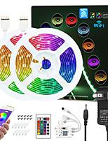 cheap -ZDM Upgraded 32.8ft (2*5M) App Intelligent Control Led Strip Lights IR 24 Key WIFI Controller 5050 RGB Waterproof  LED Soft light strip with Adapter Kit DC12V