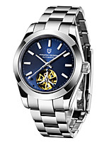 cheap -PAGANI Men's Sport Watch Automatic self-winding Tourbillion Casual Water Resistant / Waterproof Stainless Steel Silver Analog - White+Blue White+Gray Black / White / Calendar / date / day / Luminous