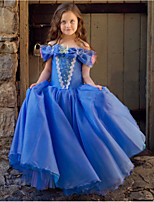 cheap -Cinderella Princess Dress Flower Girl Dress Girls' Movie Cosplay A-Line Slip Blue Dress Halloween Children's Day Masquerade Polyester