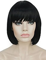 cheap -Synthetic Wig Natural Straight Short Bob With Bangs Wig Short Light Blonde Chestnut Brown Golden Brown#12 Blonde Medium Auburn#30 Synthetic Hair 8 inch Women's Soft Party Fashion Blonde Dark Brown