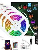 cheap -ZDM Upgraded 65.6ft (4*5M) App Intelligent Control Led Strip Lights IR 24 Key WIFI Controller 5050 RGB LED LED Soft light strip with Adapter Kit DC12V