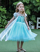 cheap -Princess Elsa Dress Flower Girl Dress Girls' Movie Cosplay A-Line Slip Blue Dress Halloween Children's Day Masquerade Polyester