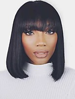 cheap -Remy Human Hair Wig Short Straight Silky Straight Bob Neat Bang Natural Women Sexy Lady Adorable Capless Malaysian Hair Women's Natural Black #1B 12 inch 14 inch 16 inch