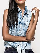 cheap -Women's Shirt Solid Colored Shirt Collar Tops Cotton Light Blue