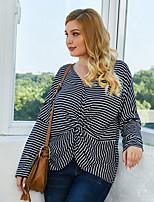 cheap -Women's Plus Size Blouse Striped Long Sleeve Print V Neck Tops Loose Basic Basic Top Royal Blue