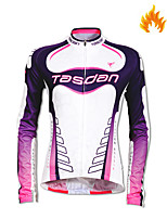 cheap -Women's Long Sleeve Cycling Jersey Fleece White Patchwork Bike Jersey Mountain Bike MTB Road Bike Cycling Quick Dry Sports Clothing Apparel / Stretchy