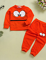 cheap -Kids Boys' Basic Chinoiserie Daily Wear Festival Solid Colored Print Long Sleeve Regular Regular Clothing Set Orange