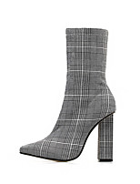 cheap -Women's Boots Winter Block Heel Pointed Toe Basic Roman Shoes Daily Plaid / Check Polyester Mid-Calf Boots Gray