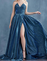 cheap -A-Line Glittering Sexy Party Wear Prom Dress V Neck Sleeveless Sweep / Brush Train Satin with Pleats Split 2020