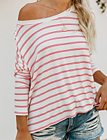 cheap -Women's T shirt Tee / T-shirt White Oversized One Shoulder Spandex Cotton Stripes Cute Sport Athleisure T Shirt Long Sleeve Lightweight Breathable Soft Yoga Exercise & Fitness Running Everyday Use