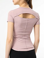 cheap -Women's Blouse Solid Colored Backless V Neck Tops Slim Basic Spring Fall Black Purple Yellow