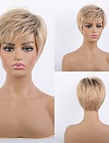 cheap -Remy Human Hair Wig Short Straight Natural Straight Bob Pixie Cut Layered Haircut Asymmetrical Blonde Women Fashion Natural Hairline Capless Women's All Black / Honey Blonde 8 inch