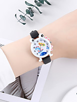 cheap -Kids Quartz Watches Quartz Cartoon Chronograph PU Leather Black / White / Blue Analog - White Black Purple