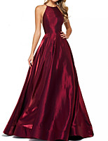cheap -A-Line Elegant Minimalist Engagement Formal Evening Dress Halter Neck Sleeveless Sweep / Brush Train Satin with Sleek 2020
