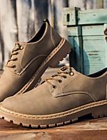 cheap -Men's Summer / Fall Daily Oxfords Leather Black / Khaki / Brown