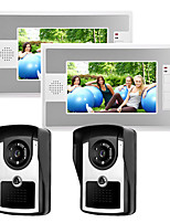 cheap -Wired 7 Inch Hands-free 800*480 Pixel Two To Two Video Doorphone Intercom System With Infrared Night Vision Camera