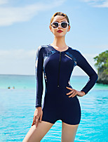 cheap -Women's One Piece Swimsuit Nylon Bodysuit Breathable Quick Dry Long Sleeve Front Zip - Swimming Surfing Snorkeling Patchwork Summer / Stretchy