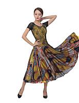 cheap -Ballroom Dance Dress Split Joint Women's Training Performance Short Sleeve Mesh Lace