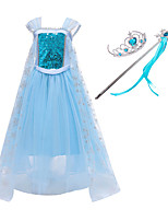 cheap -Frozen Princess Dress Cosplay Costume Girls' Movie Cosplay Mesh Halloween Blue Dress Wand Halloween New Year Polyester / Cotton