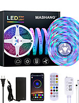 cheap -MASHANG Bright RGBW LED Strip Lights 15M Music Sync Smart LED Lights Tiktok Lights 3510LEDs SMD 2835 Color Changing with 24 keys Remote Bluetooth Controller for Home Bedroom TV Back Lights DIY Deco