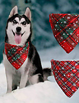 cheap -Dog Cat Bandanas & Hats Dog Bandana Dog Bibs Scarf Plaid / Check Snowflake Party Cute Christmas Party Dog Clothes Adjustable Costume Cotton Polyster S L