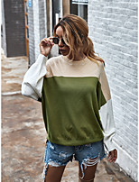 cheap -Women's Casual / Daily Color Block Pullover Long Sleeve Sweater Cardigans Boat Neck Fall Winter Blue Orange Green