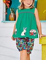 cheap -Kids Girls' Basic Floral Sleeveless Clothing Set Green