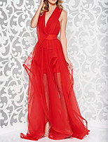 cheap -A-Line Beautiful Back Sexy Engagement Formal Evening Dress V Neck Sleeveless Sweep / Brush Train Tulle with Overskirt 2020