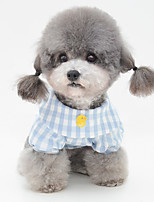 cheap -Dog Pajamas T-shirts Plaid / Check Casual / Sporty Cute Party Casual / Daily Dog Clothes Breathable Yellow Blue Pink Costume Fabric S M L XL XXL