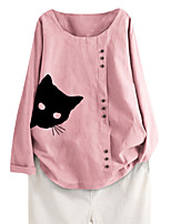 cheap -Women's Blouse Cat Long Sleeve Button Print Boat Neck Tops Loose Basic Basic Top White Blushing Pink Navy Blue