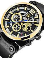 cheap -BENYAR Men's Sport Watch Quartz Modern Style Sporty Outdoor Water Resistant / Waterproof Leather Black Analog - Black+Gloden Black / Calendar / date / day