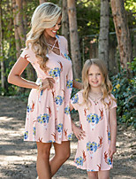 cheap -Mommy and Me Active Sweet Floral Color Block Criss Cross Print Short Sleeve Above Knee Dress Blue