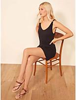 cheap -Women's Sheath Dress Short Mini Dress - Sleeveless Solid Color Summer Sexy Daily 2020 Black Blue Red Yellow Blushing Pink S M