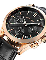 cheap -RONMAR Men's Sport Watch Quartz Sporty Casual Water Resistant / Waterproof Leather Black / Brown Analog - White Black / Stainless Steel