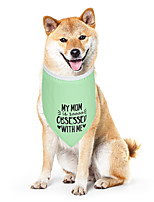 cheap -Dog Cat Bandanas & Hats Dog Bandana Dog Bibs Scarf Letter & Number Casual / Sporty Cute Party Sports Dog Clothes Adjustable Green Costume Cotton Polyster