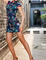 cheap -Latin Dance Dress Pattern / Print Women's Training Performance Cap Sleeve Cotton