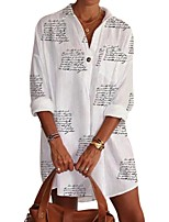 cheap -Women's Blouse Shirt Letter Shirt Collar Tops 100% Cotton Basic Fall White