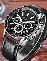 cheap -LIGE Men's Sport Watch Quartz Modern Style Stylish Leather Black Water Resistant / Waterproof Calendar / date / day Day Date Analog Casual Cool - White Black / Stainless Steel